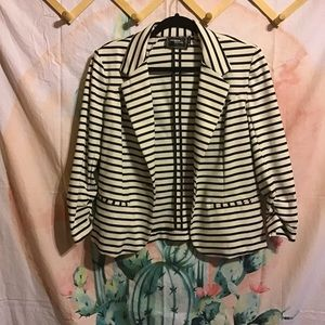 Christian Siriano Runway Striped Blazer Jacket B&W